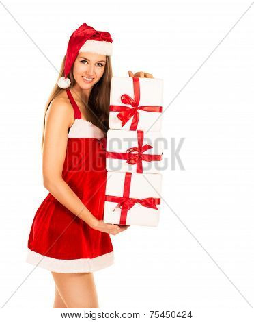 Christmas Santa hat isolated woman portrait