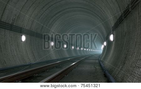 Underground Tunnel With Lights