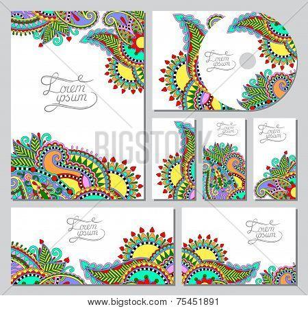 set of floral decorative background, CD design, brochure, busine