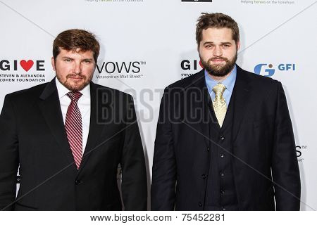NEW YORK, NY - NOVEMBER 05: (L-R) Jake Young, Marshall Peters, Petty Officer 3rd Officer, US Navy, Veteran attend 2014 Stand Up For Heroes at Madison Square Garden on November 5, 2014 in New York City