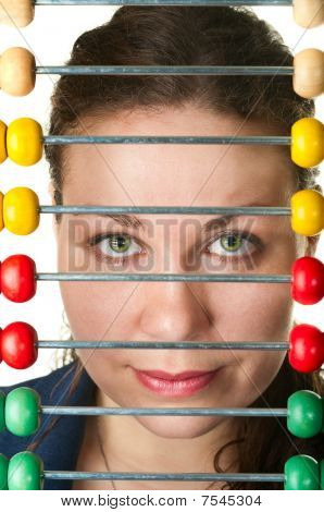 The Beautiful Woman Face And Color Abacus