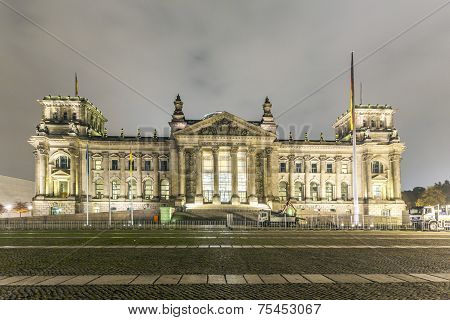 Reichstag Or Bundestag Building In Berlin, Germany, At Night