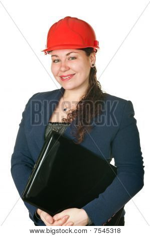 Young Woman Architect In Red Helmet And With Laptop. Isolated On White Background