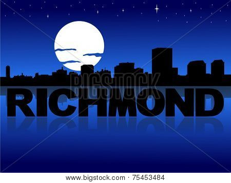 Richmond skyline reflected with text and moon illustration