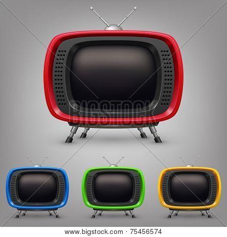 Set retro color tv