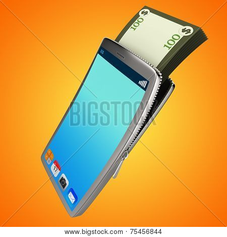 Dollars Phone Shows World Wide Web And Bank