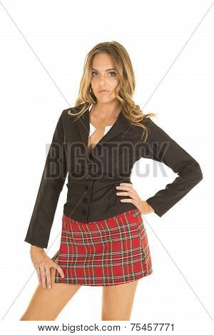 School Girl Stand In Skit And Black Top Serious