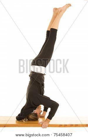 Woman Fitness Black Jacket Head Stand Legs Up