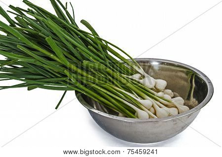 Tuft Of Raw Garlic For Cooking, Isolated On White Background