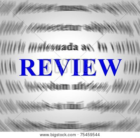 Review Definition Represents Evaluate Reviews And Inspection