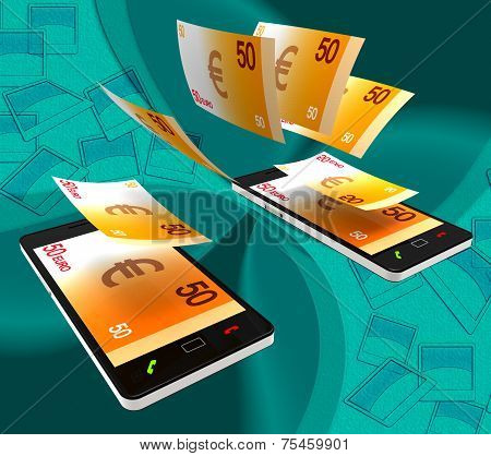 Euros Transfer Indicates Exchanging Money And Cash