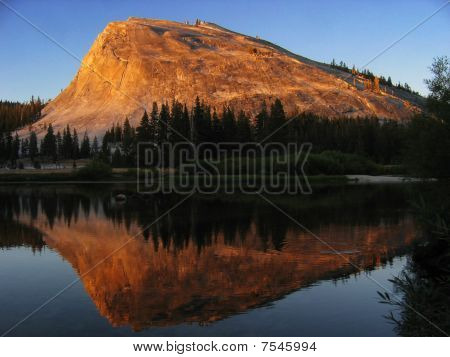 Lembert Dome Reflection At Sunset