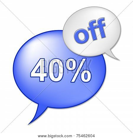 Forty Percent Off Indicates Retail Savings And Cheap