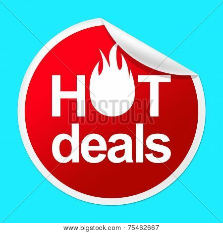 Hot Deals Sticker Indicates Number One And Best