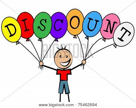 Discount Balloons Represents Promotion Toddlers And Youngsters