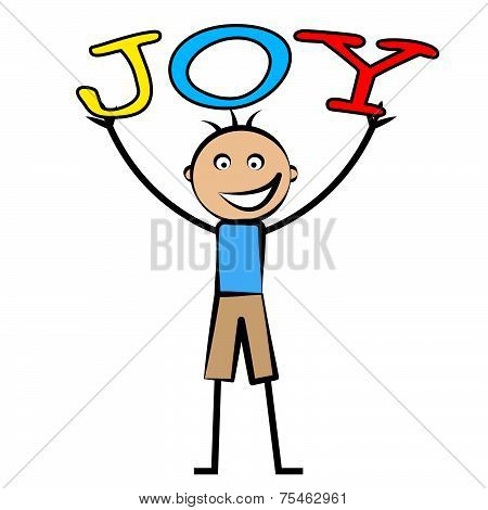 Joy Kids Means Positive Cheerful And Child