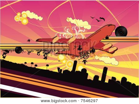 airplane abstract vector illustration