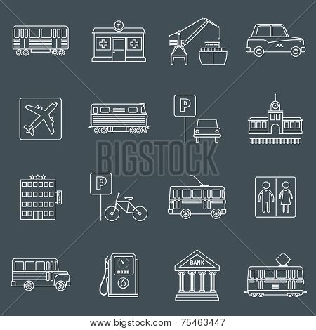 City infrastructure icons outline