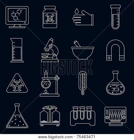 Laboratory equipment icons outline
