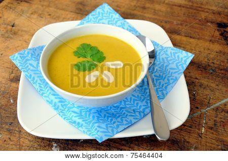 View of pumpkin squash soup