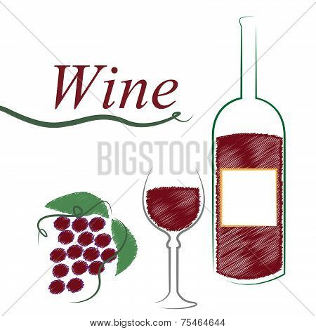 Wine Bottle Shows Alcoholic Drink And Cafe