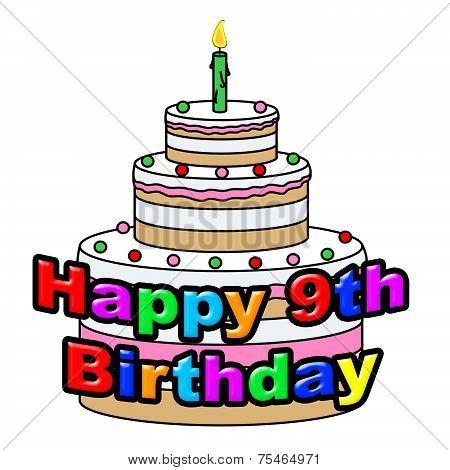 Happy Nineth Birthday Shows Celebrating Ninth And Celebration