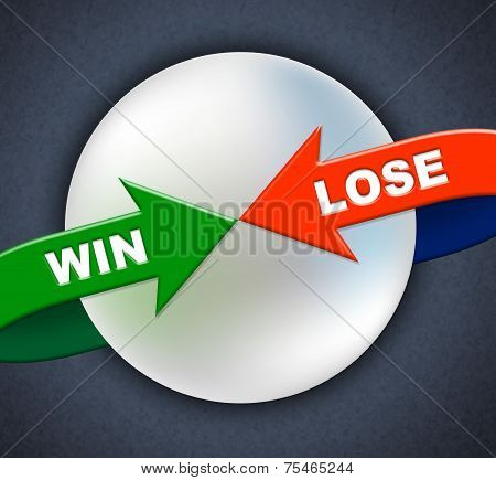 Win Lose Arrows Shows Victory Success And Failing
