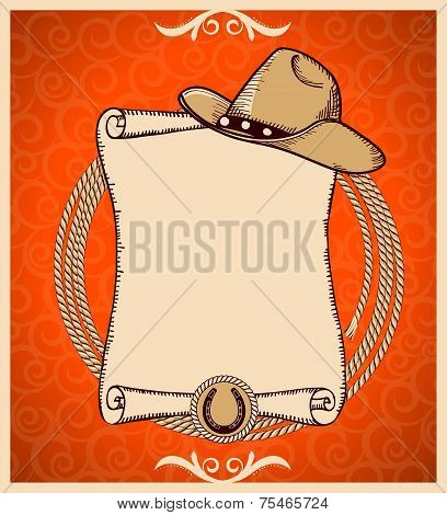 Western New Year Greeting Card With Scroll