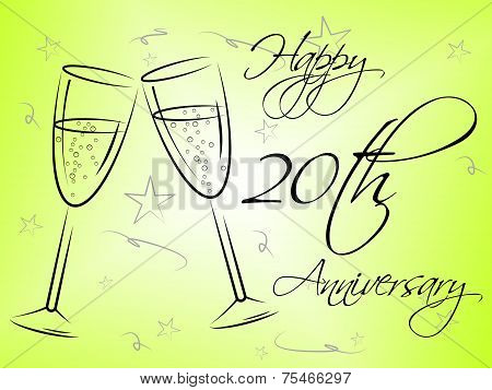 Happy Twentieth Anniversary Represents Annual Greeting And Celebration