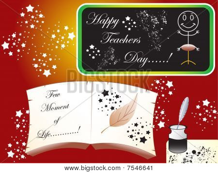abstract teachers day based vector objects black board with grunge effects book and inkpot