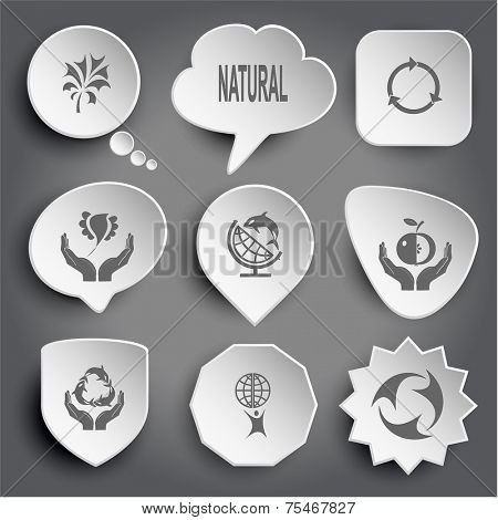 Abstract plant, natural, bird in hands, globe and shamoo, apple in hands, protection sea life, little man with globe, recycle symbol. White vector buttons on gray.