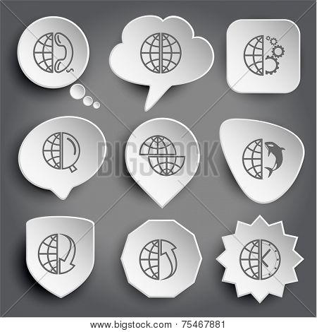 globe and phone, and gears, and magnifying glass, shift globe, and shamoo, and array down, and array up, and clock. White vector buttons on gray.