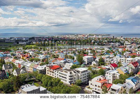 Aerial over Reykjavik.