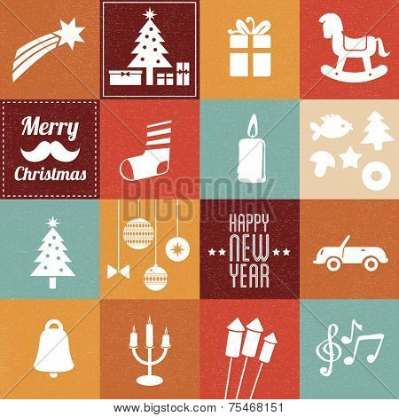 Christmas symbols & icons in vintage colors - set 2
