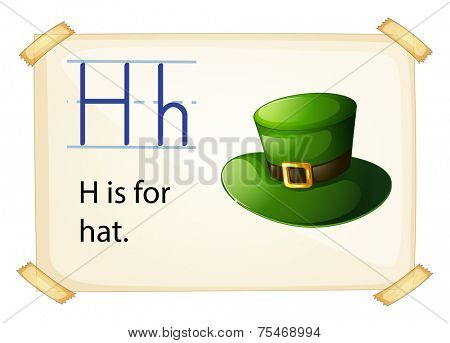 Literacy card showing the letter H with example object and sentence