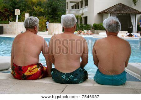 Three men at the spa