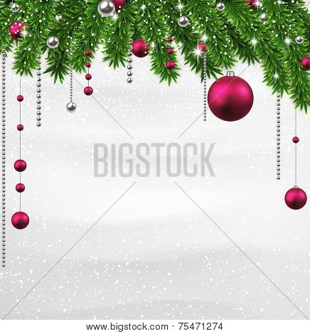 Winter background with spruce twigs and magenta baubles. Christmas vector frame. Eps10.