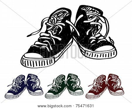 Hand drawn pair of black sneakers on the white background. Vector illustration in 3 colors.