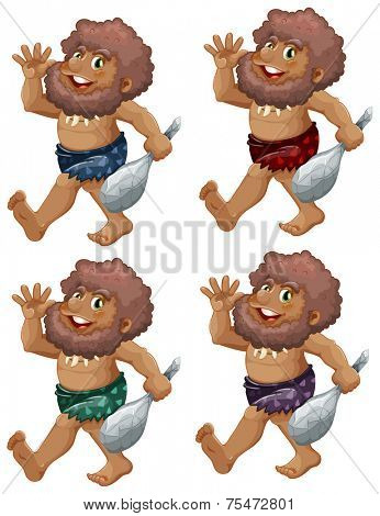 Caveman set on a white background
