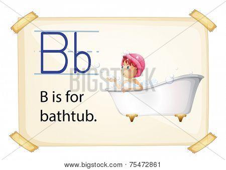 Bathtub flashcard with letters