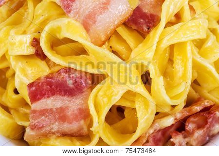Italian Food, Bacon And Pasta With Black Pepper, Background