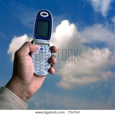 cell phone and blue sky