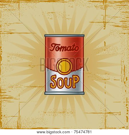Retro Tomato Soup Can. Vector