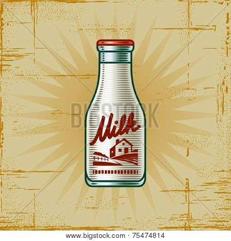 Retro Milk Bottle. Vector