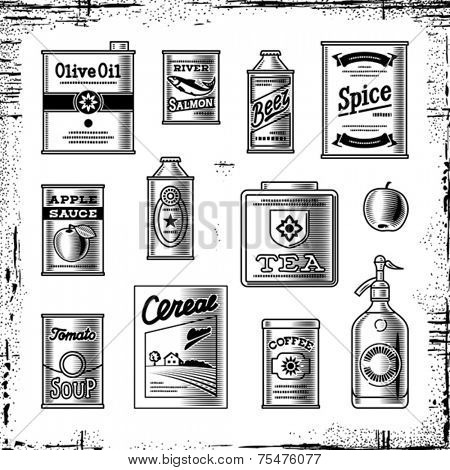 Retro grocery set black and white. Vector
