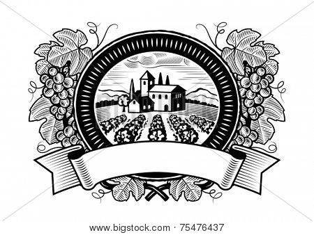 Grapes harvest label black and white. Vector