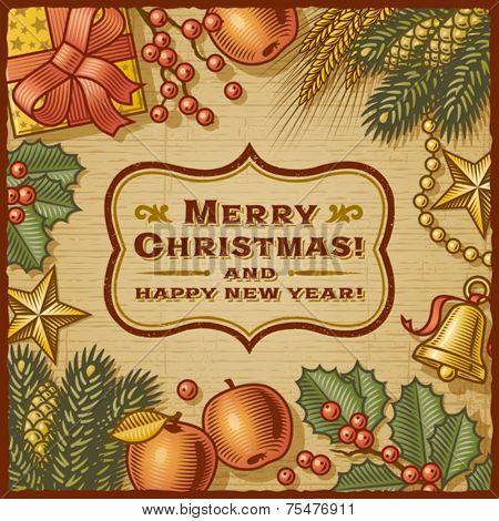 Christmas Retro Card. Vector