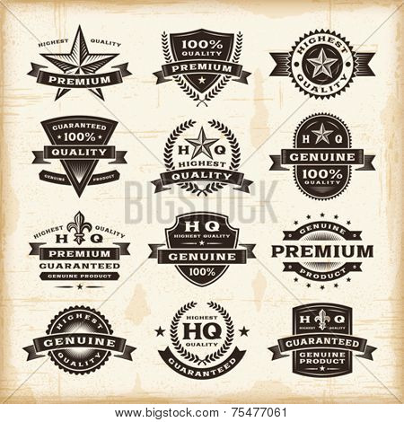 Vintage premium quality labels set. Fully editable EPS10 vector.