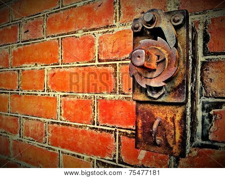 Red Brick Wall With Sliding Door Control