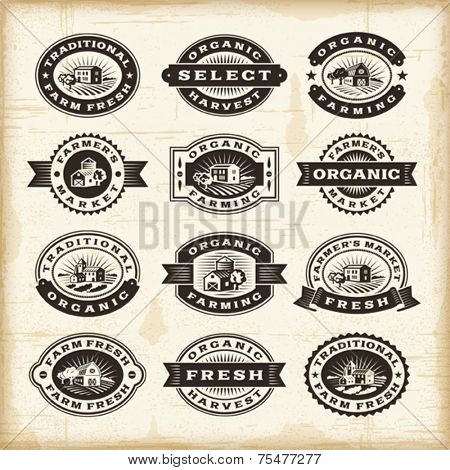 Vintage organic farming stamps set. Fully editable EPS10 vector.